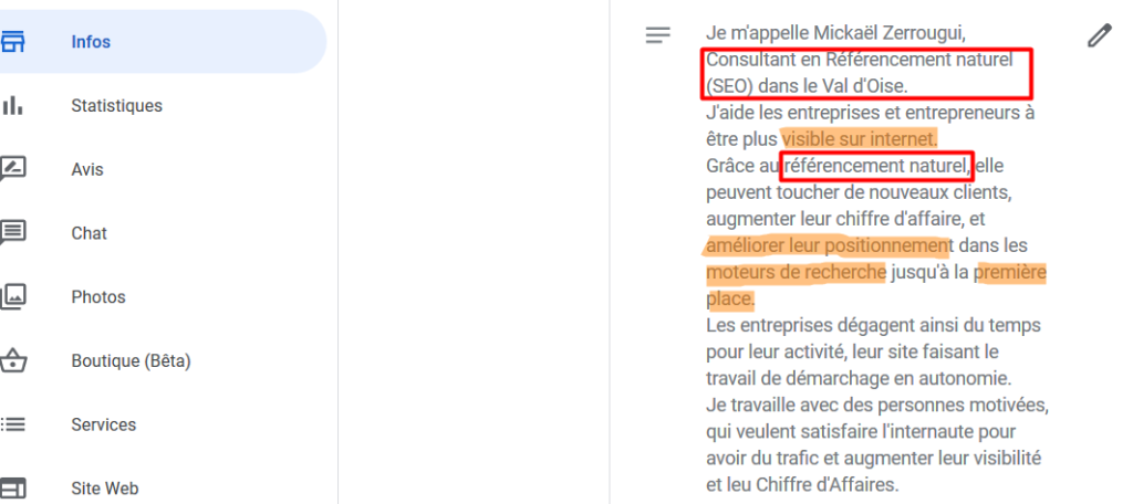 optimiser Google My Business description