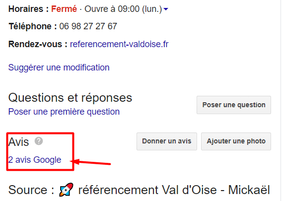 Avis Google My Business