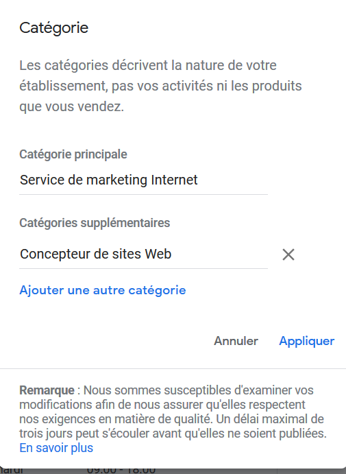 optimiser Google My Business catégories
