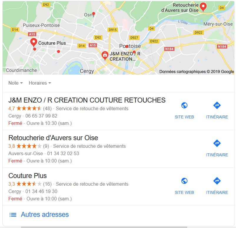 résultats optimisés Google My Business