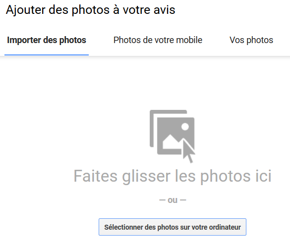 Glisser la photo pour avis google my business